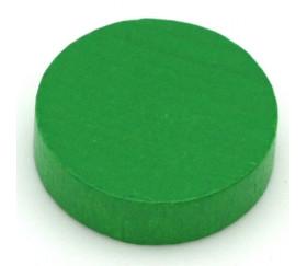 Jeton vert 25x7 mm en bois rond pour jeux