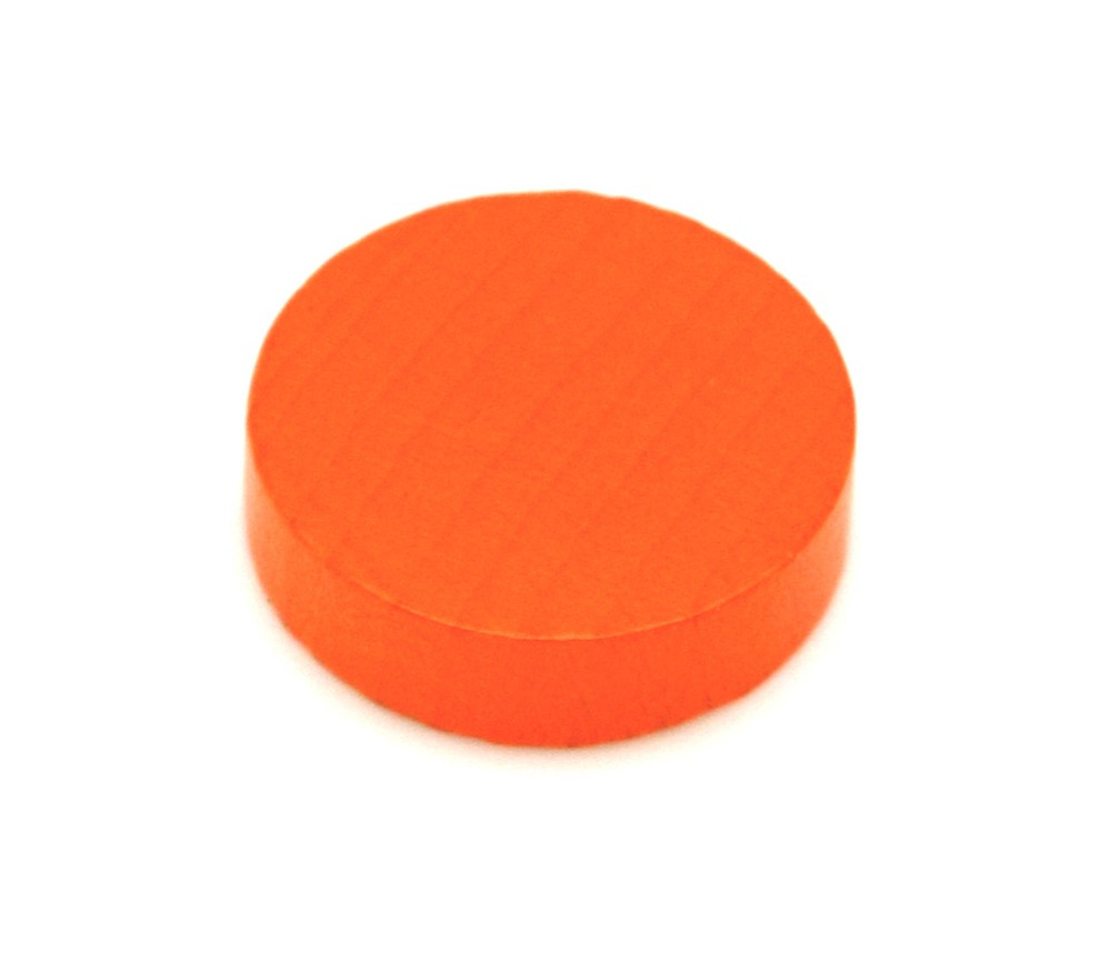 Jeton orange 25x7 mm en bois rond pour jeux
