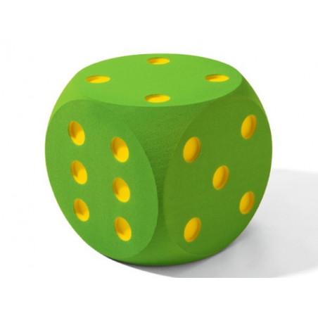 Dé géant 30 cm en mousse tactile vert