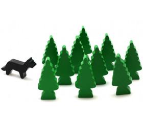10 Pions sapins vert en bois