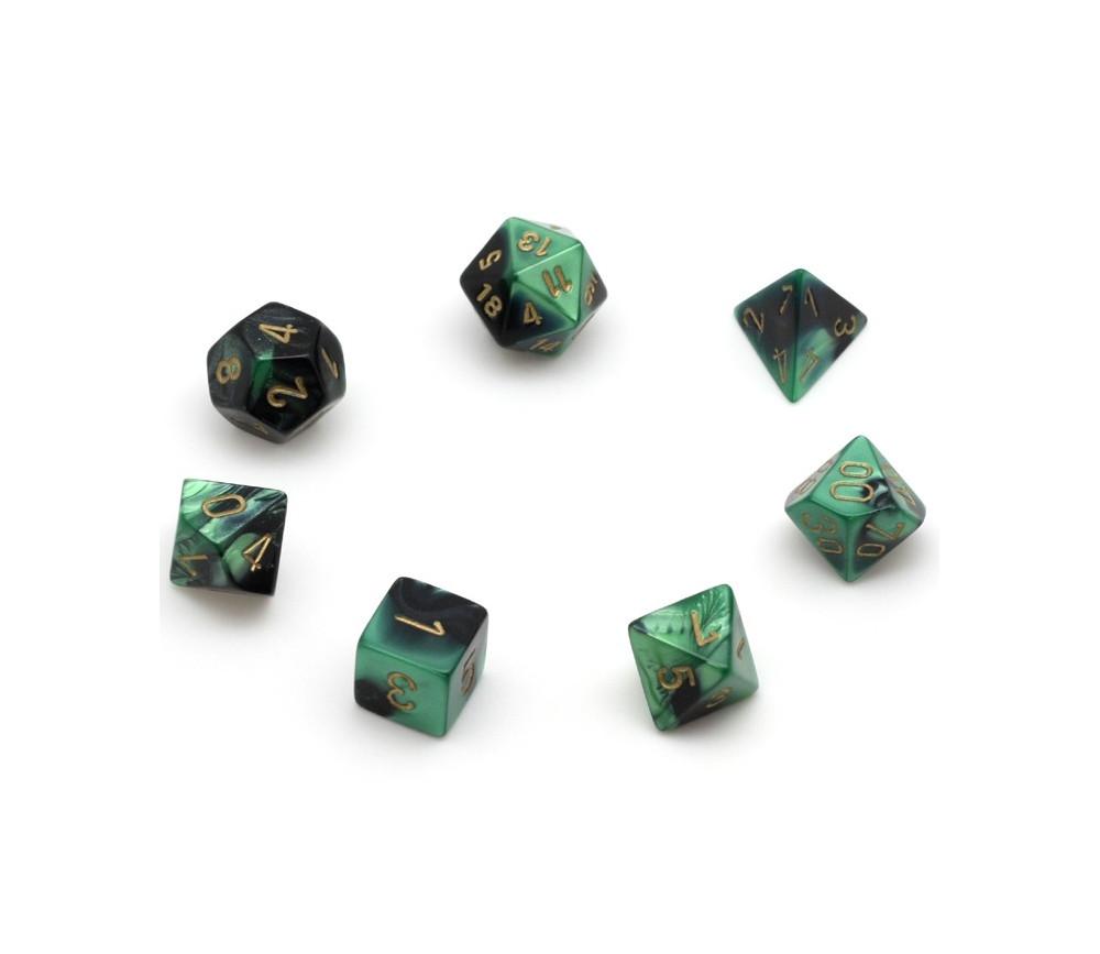 Set 7 dés multi-faces vert-noir gravage doré.