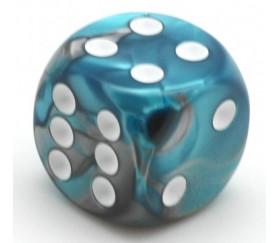Dé  mix gris argent et bleu 16 mm