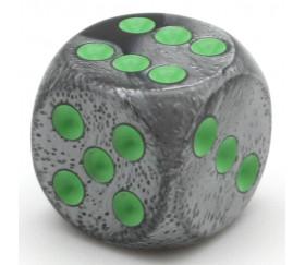 Dé mix argent/noir 16 mm points verts