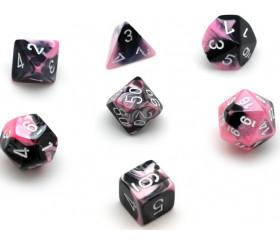 Set 7 dés multi-faces noir et rose