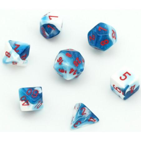 Set 7 dés multi-faces glacé nacré bleu-blanc points rouge