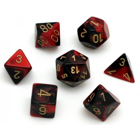 Set 7 dés multi-faces effet rouge et noir