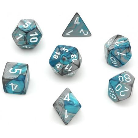 Set 7 dés multi-faces effet bleuté et argenté