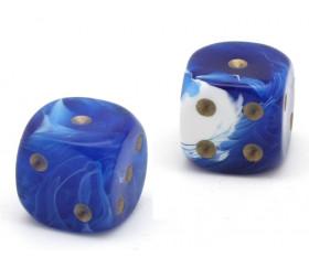 Dé à jouer marbré bleu/blanc 16 mm