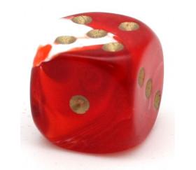 Dé à jouer marbré rouge/blanc 16 mm