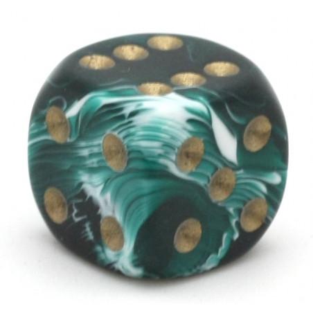 Dé à jouer marbré vert/blanc 16 mm