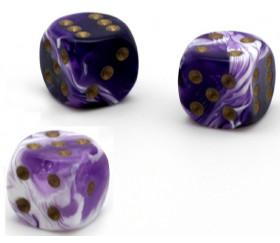 Dé à jouer marbré violet/blanc 16 mm