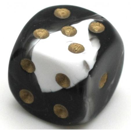 Dé à jouer marbré noir/blanc 16 mm