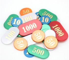 Sac 90 jetons numérotés luxe de 10 à 1000 Belote