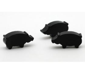 Pion sanglier ou cochon noir en bois 30 x 14 x 8 mm.