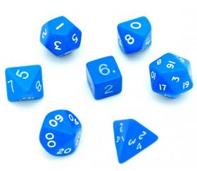 7 dés multi-faces en plastique opaque bleu
