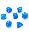 Lot de 7 dés multi-faces opaques bleus