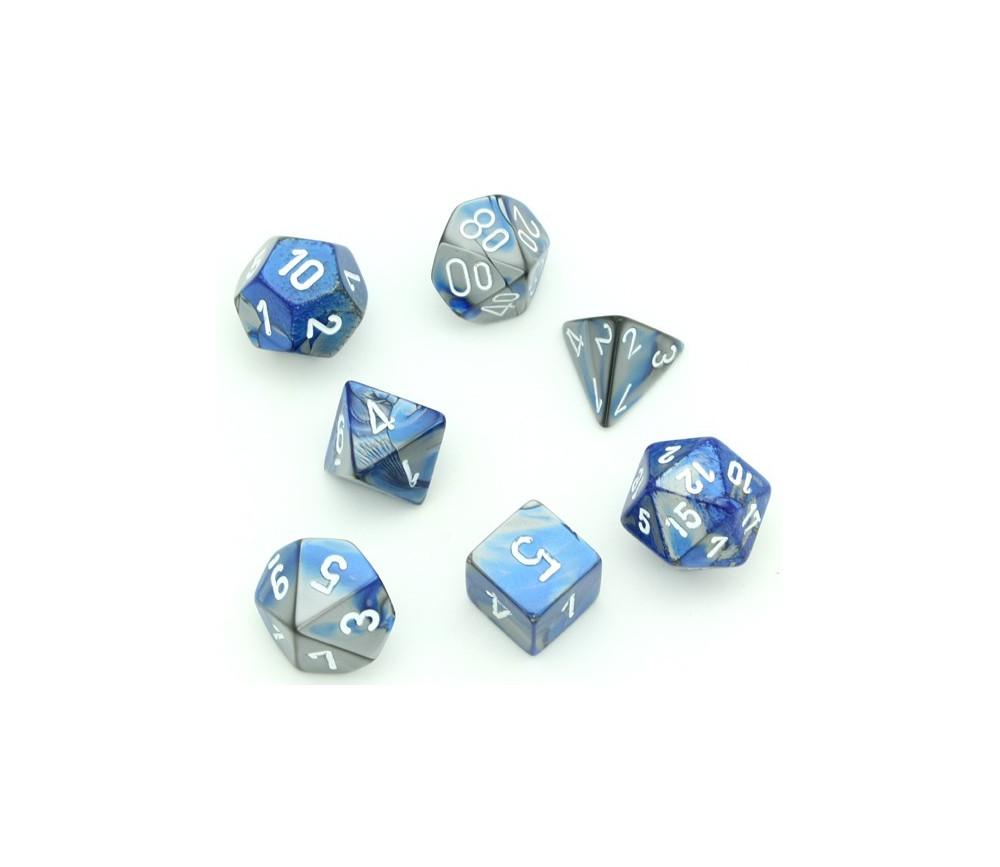 Set 7 dés multi-faces effet bleu et argenté