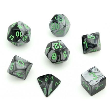 Set 7 dés multi-faces noir gris avec points vert