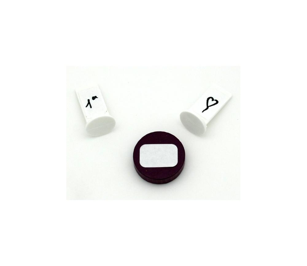 112 étiquettes 12 x 18.3 mm autocollantes blanches rectangulaires coins arrondis
