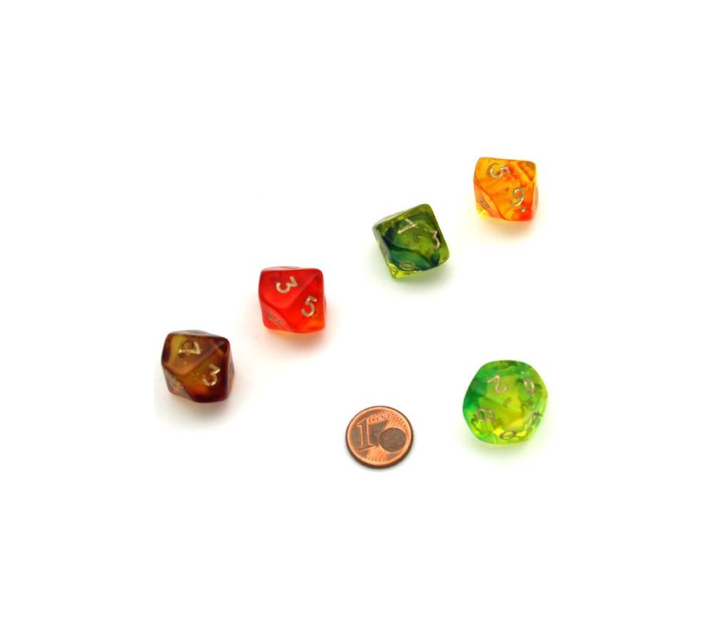 Dé 10 faces translucide bicolore de 0 à 9