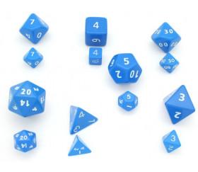 7 dés multi-faces jumbo opaques couleurs