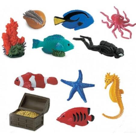 Monde sous-marin : 11 personnages récif coralien dans un tube