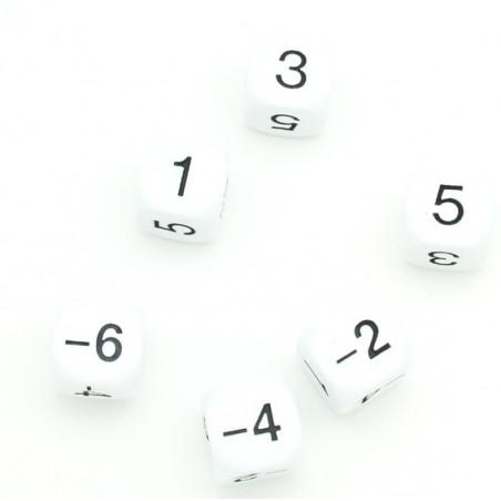 Dé 1 3 5 -2-4-6 impair positif et pair négatif en 22 mm