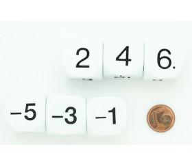 Dé -1 -3 -5 2 4 6 pair positif et impair négatif en 22 mm