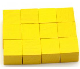 12 Cubes jaunes en bois 2.5 cm. 25 x 25 x 25 mm