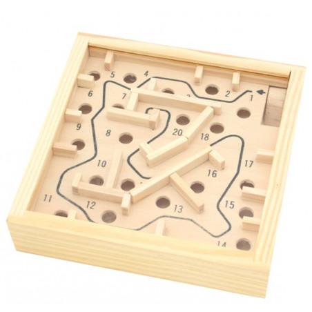 mini labyrinthe en bois 11.5 x 11.5 cm