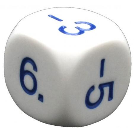 Dé -1 -3 -5 2 4 6 pair positif et impair négatif en 16 mm