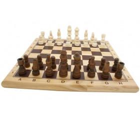 Jeu d'échec en bois complet : plateau bois + 32 Pièces bois