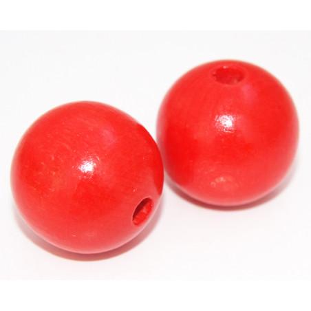 Grosse perle boule rouge en bois diamètre 30 mm trou 6 mm