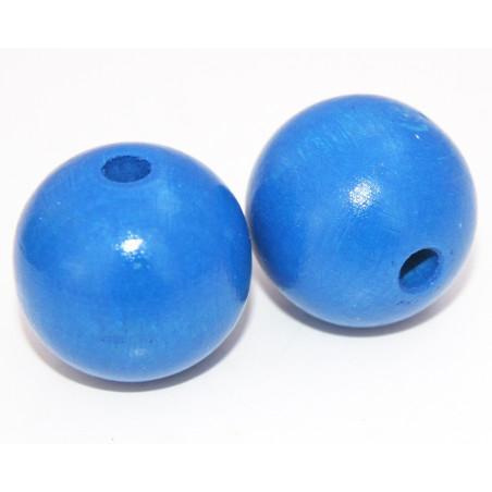 Grosse perle boule bleue en bois diamètre 30 mm trou 6 mm