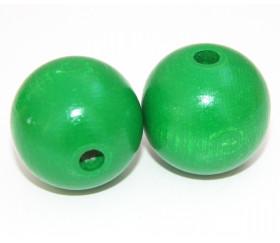 Grosse perle boule verte en bois diamètre 30 mm trou 6 mm