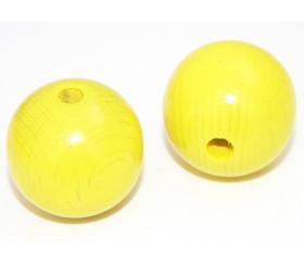 Grosse perle boule jaune en bois diamètre 30 mm trou 6 mm