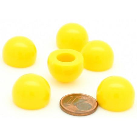 pion dome de jeu 12x15 mm demi boule plastique jaune