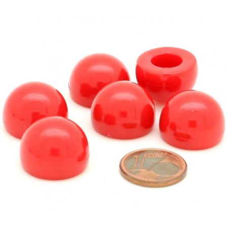 pion dome de jeu 12x15 mm demi boule plastique rouge