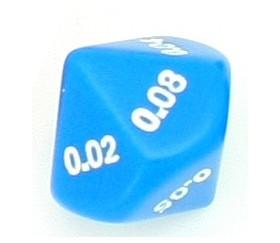 Dé décimal 0.01 0.02 0.03 0.04 0.05 0.06 0.07 0.08 0.09