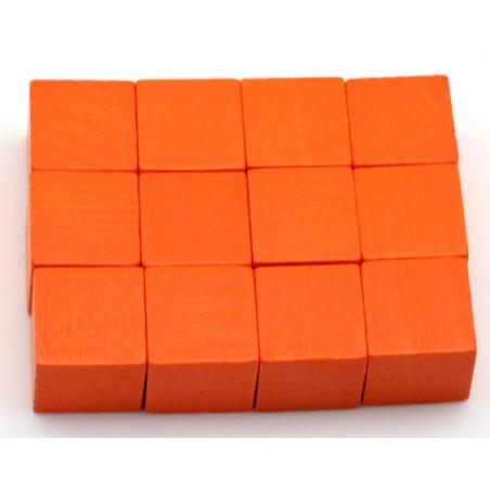 12 Cubes en bois 2 cm. 20 x 20 x 20 mm orange