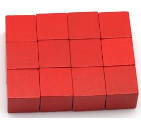 12 Cubes en bois 2 cm. 20 x 20 x 20 mm rouge
