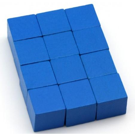 12 Cubes en bois 2 cm. 20 x 20 x 20 mm bleu