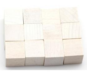 12 Cubes en bois 2 cm. 20 x 20 x 20 mm blanc