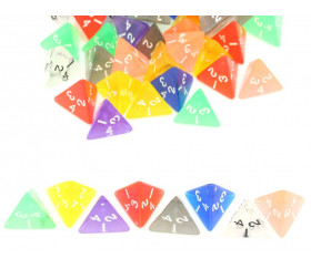Dé 4 faces pyramide 1 à 4 translucide