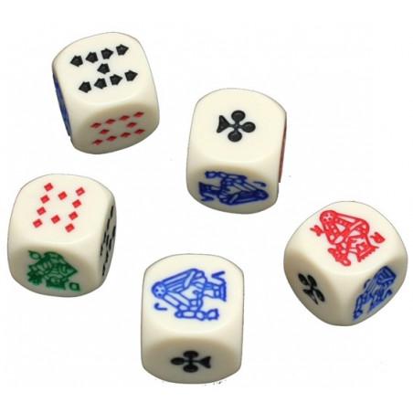 5 dés poker 15 mm poker d'as ivoire