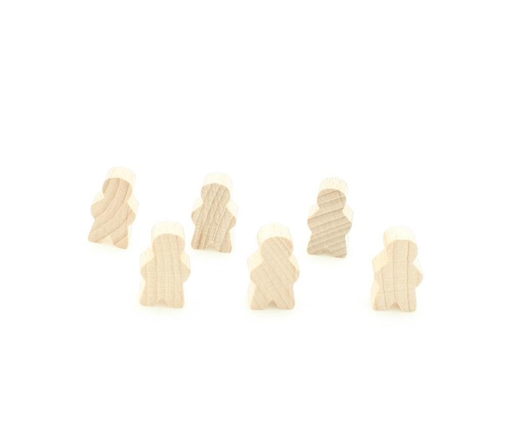 Pions personnage en bois naturel bonhomme meeple