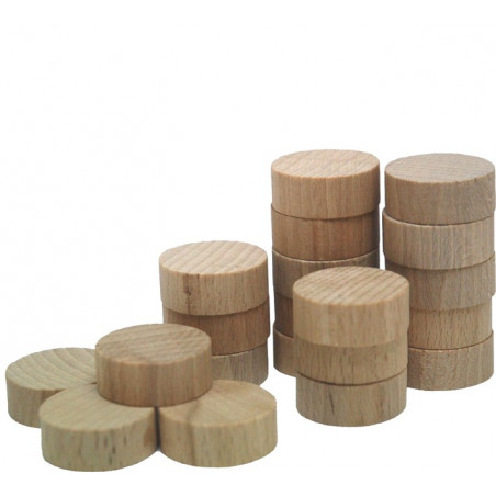 Lot de 20 palets en bois de 30 mm de diamètre