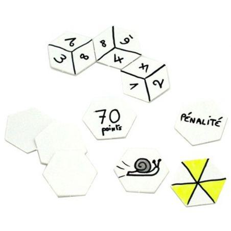20 Tuiles 25 mm hexagones jetons épais blancs