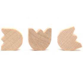 Pièce en bois naturel 14x17x3 mm forme tulipe pour jeu