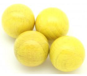 Boule bois couleur jaune 40 mm diamètre bille hetre 4 cm